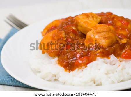 chicken breast with sauce and rice - stock photo