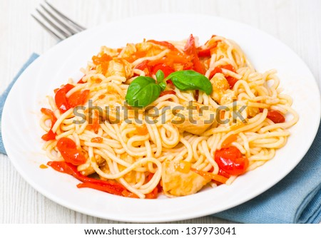 Chicken Breast with spaghetti and vegetables