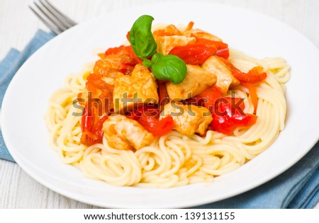 Chicken Breast with spaghetti and vegetables - stock photo