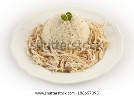 Chicken Breast with Turkish Pilav Rice with white background - stock photo
