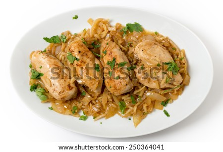 Chicken breasts in an almond, onion and wine sauce, garnished with flat-leaf parsley - stock photo