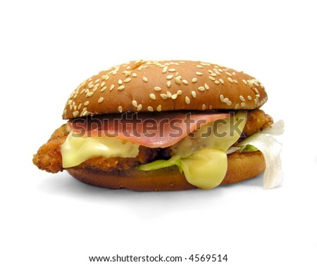 Chicken burger isolated on white with soft shadow