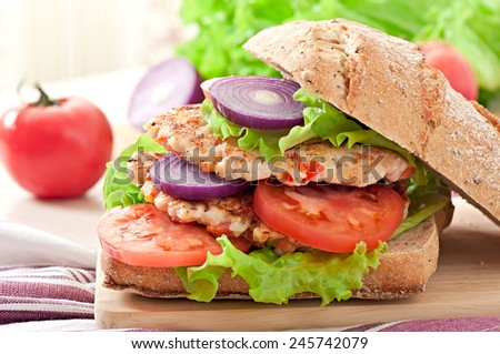 Chicken burgers grilled - stock photo