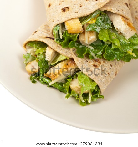 Chicken Caesar Wrap. selective focus. - stock photo