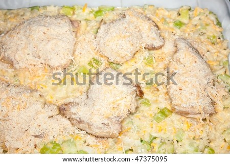 Chicken casserole with chicken, rice, zucchini, and other vegetables and cheese - stock photo