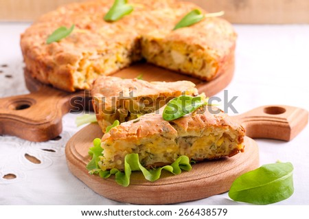 Chicken, cheese and herbs quiche - stock photo