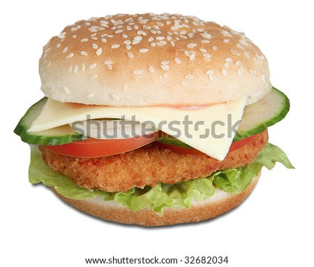 Chicken cheese burger - stock photo