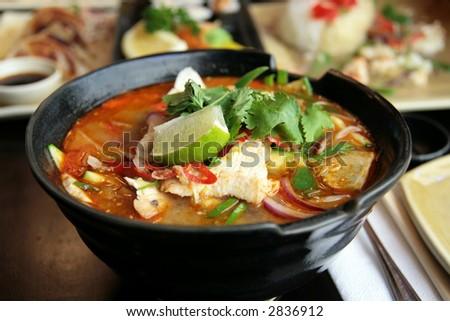 Chicken Chilli Men - Japanese Chicken Noodle Soup - stock photo