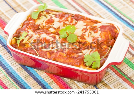 Chicken & Chorizo Enchiladas - Mexican soft tortilla filled with chorizo and chicken cooked in spicy tomato sauce.  - stock photo