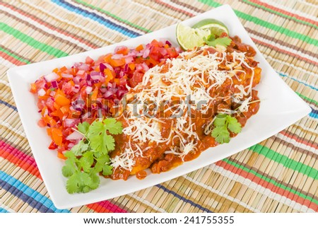 Chicken & Chorizo Enchiladas - Mexican soft tortilla filled with chorizo and chicken cooked in spicy tomato sauce served with salsa.  - stock photo