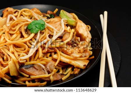Chicken chow mein a popular oriental dish available at chinese take outs - stock photo