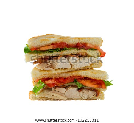 Chicken club sandwich isolated on a white background. Clipping path in the file. - stock photo