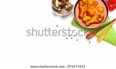 chicken cooked with curry sauce and rice for eat on background.