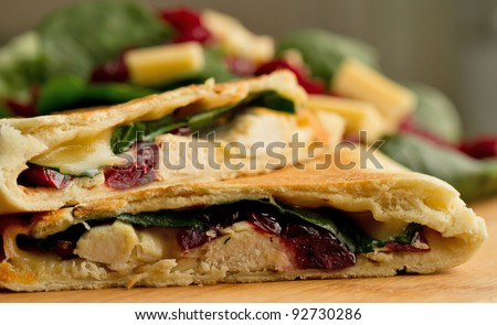 Chicken, cranberry, spinach and gouda cheese quesadilla - stock photo