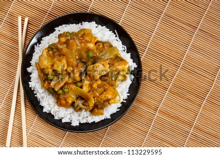 Chicken Curry a popular asian dish available at chinese take aways - stock photo