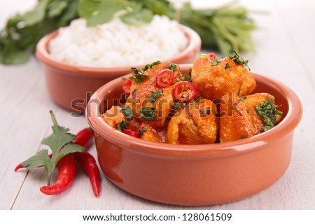 chicken curry and rice - stock photo