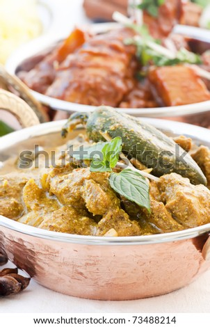 Chicken Curry and Vindaloo - stock photo
