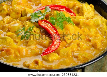 Chicken curry in a bowl. Selective focus - stock photo