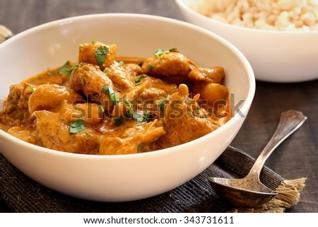 Chicken curry with potatoes, selective focus - stock photo