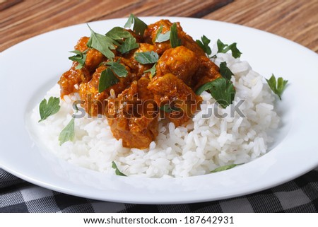 Chicken curry with rice and cilantro on white plate close up horizontal   - stock photo