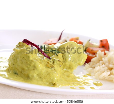 chicken curry with rice and salad isolated - stock photo