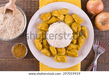 Chicken curry with rice Caribbean. - stock photo