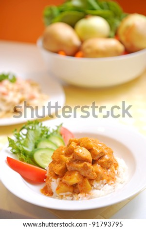 CHICKEN CURRY WITH RICE THAI FOOD - stock photo