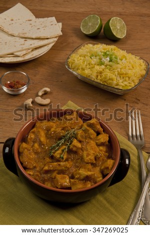 Chicken curry with saffron basmati rice