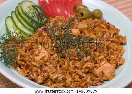 Chicken curry with vegetable curry and rice - stock photo