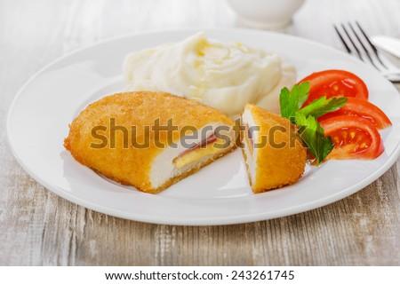 chicken cutlet cordon bleu � - stock photo