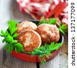 Chicken cutlets in frying pan, selective focus - stock photo