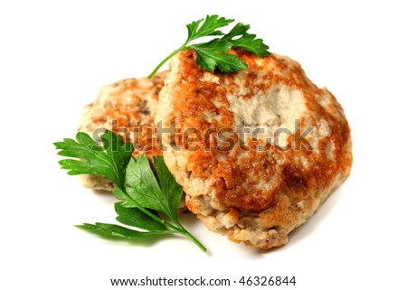 Chicken cutlets with parsley isolated over white background - stock photo