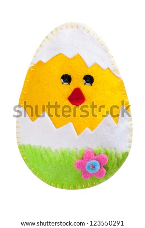 Chicken decoration handmade of felt - stock photo