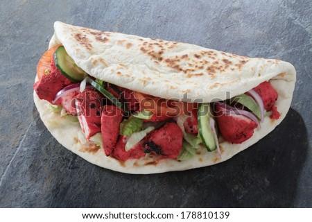 chicken donner naan sandwich - stock photo