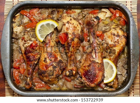 Chicken Drumsticks Baked in Oven - stock photo
