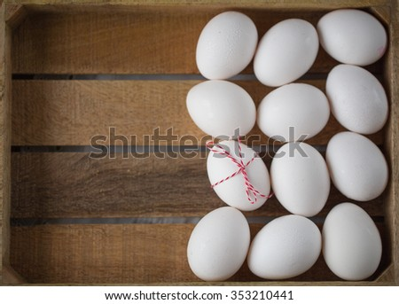 chicken eggs. Christmas concept background for Christmas cards. selective Focus