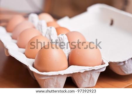 chicken eggs in box - stock photo