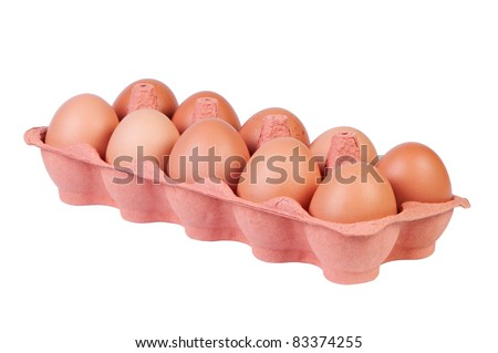 Chicken eggs in carton box on white background without shadow. Clipping paths. - stock photo