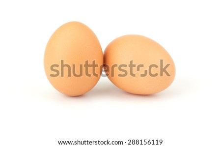 Chicken eggs isolated on white background - stock photo