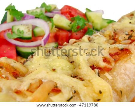 Chicken Enchilada and Salad - stock photo