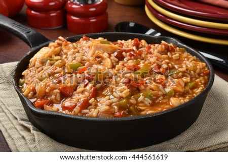 Chicken fajita rice in a cast iron skillet