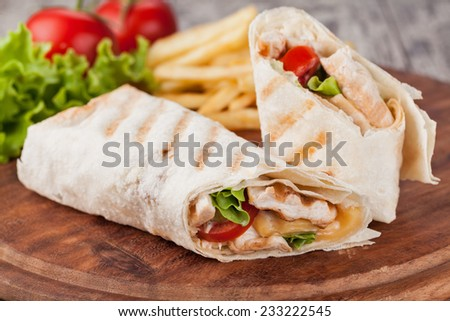 Chicken fajita wrap sandwich - stock photo