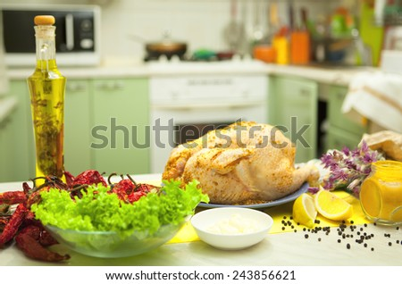 Chicken fillet on a kitchen table  - stock photo