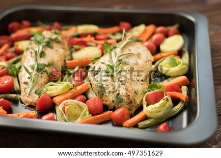 Chicken fillet with purret and asparagus
