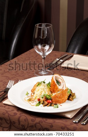 chicken fillet with vegetables and potatoes - stock photo