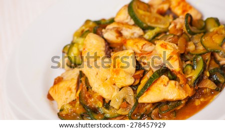 chicken fillet with zucchini - stock photo