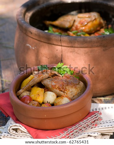 chicken food in a hotpot - stock photo