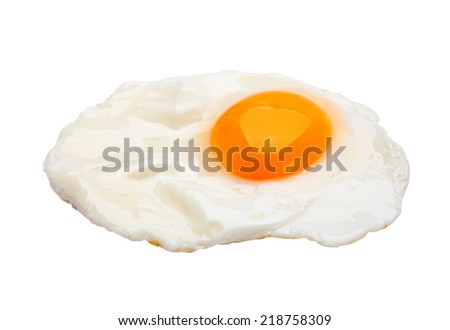 Chicken fried egg isolated on white - stock photo