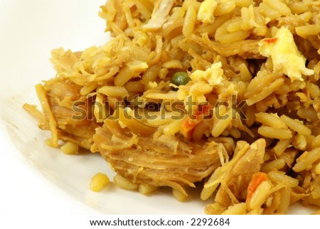 Chicken fried rice oriental, asian style dinner on white porcelain plate and white background. - stock photo