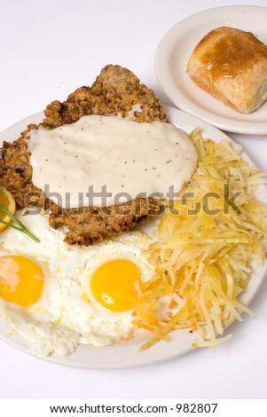 chicken fried steak - stock photo